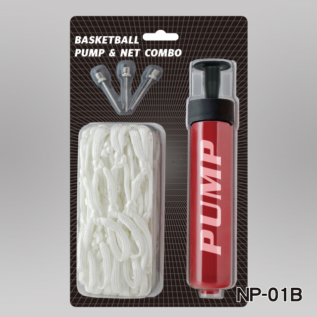 "6"" ONE WAY PUMP(R HANDLE) + 3PCS INFLATING NEEDLES + BASKETBALL NET"